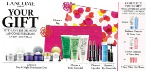 Preview of upcoming Lancome GWP at Macy's